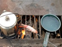 breakfast and coffee over a campfire