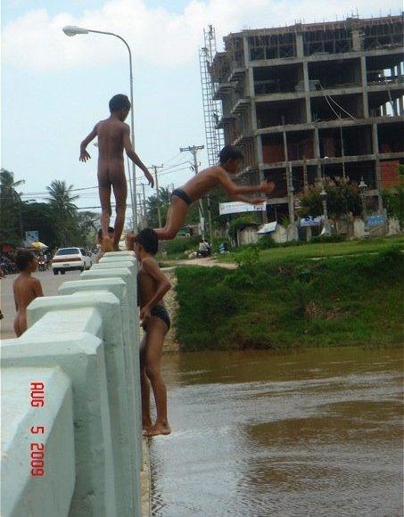 Bridge jumping in Cambodia