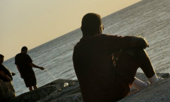 Fishing silhouette in Curacao