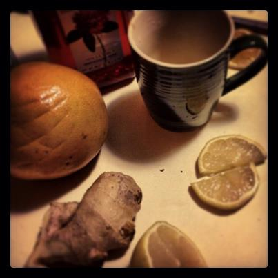 ginger-cayenne-lemon-grapefruit and honey tea