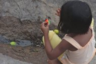 Child playing on the beach in Venezuela