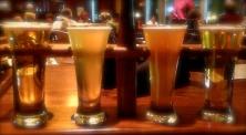 Beer flight arranged quite nicely