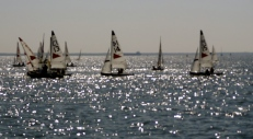 sailboats on a beautifully lit waterway