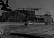 Philly Stadium with reflection of dashboard