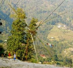 bamboo swings set up all over Kathmandu.