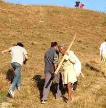 As we hiked up the hill other party goers were hiking down.