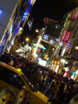 Colorful lights at night in Istanbul, Turkey
