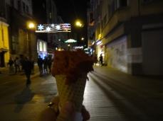 Rasberry Icecream with night lights in Istanbul Turkey